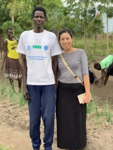 Concern Worldwide U.S. Community Engagement and Program Manager, Sylvia Wong (right), with Kuony, a gardener who has lived 25 years in the camp.