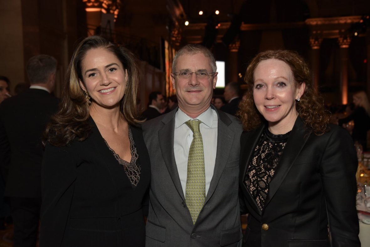 Niall O'Brien (center) with his wife Pauline Donohoe (right) and Noelle Keane (left) at Concern's annual Seeds of Hope Award Dinner.