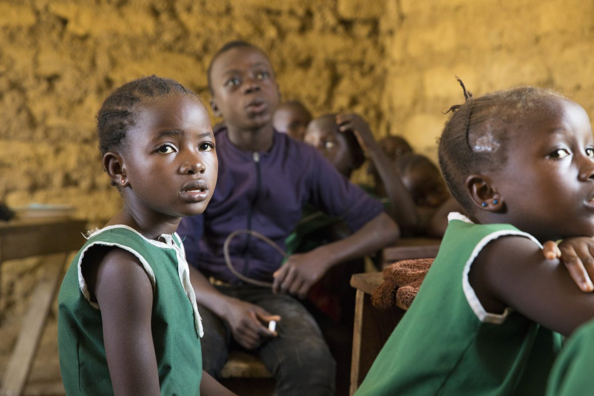 A young girl in a Concern supported school in Sierra Leone.