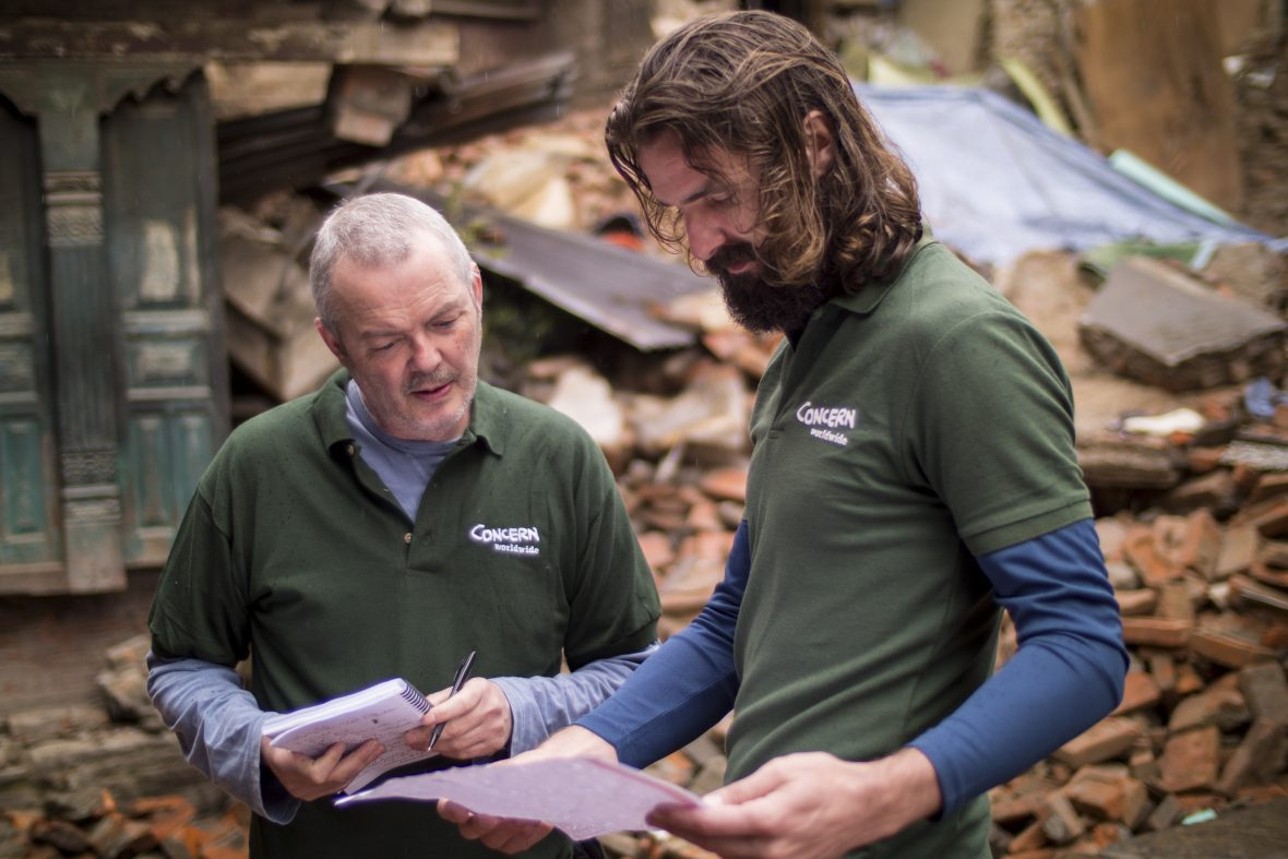 Concern Worldwide's Humanitarian Coordinator, Ros O'Sullivan, discusses the Nepal earthquake response plan with logistician Grahan Woodcock.