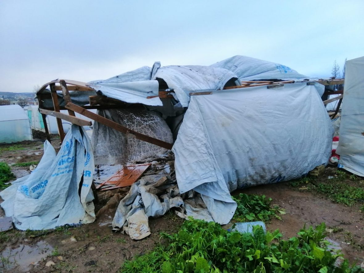 A badly damaged refugee family shelter in Lebanon.