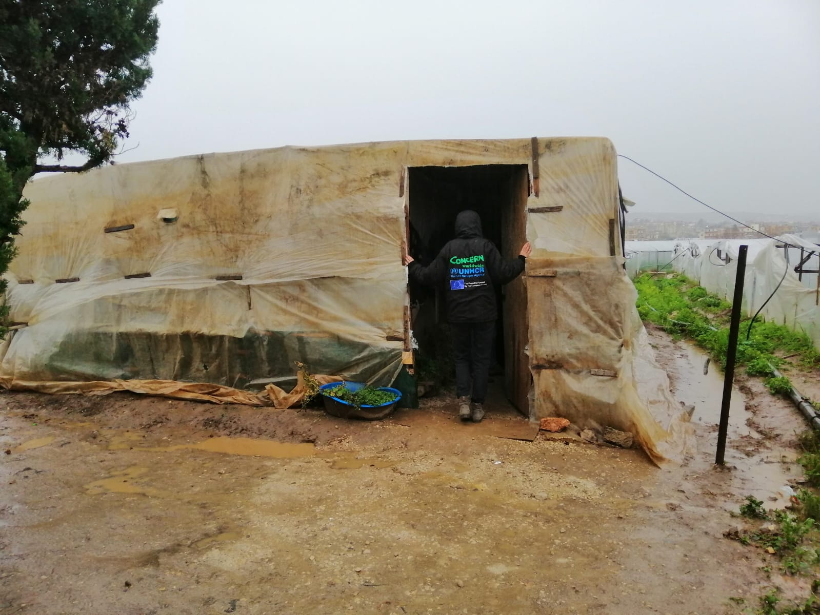 "A member of the Concern Lebanon team visits a refugee family in the wake of storm ""Miriam"""