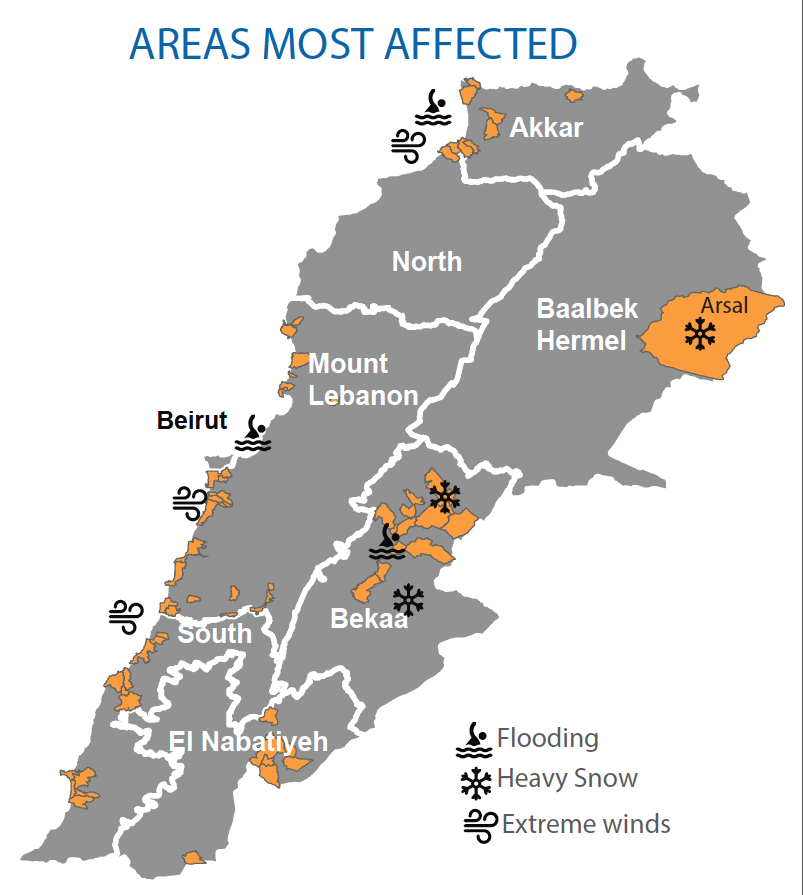 A map showing storm-affected areas of Lebanon