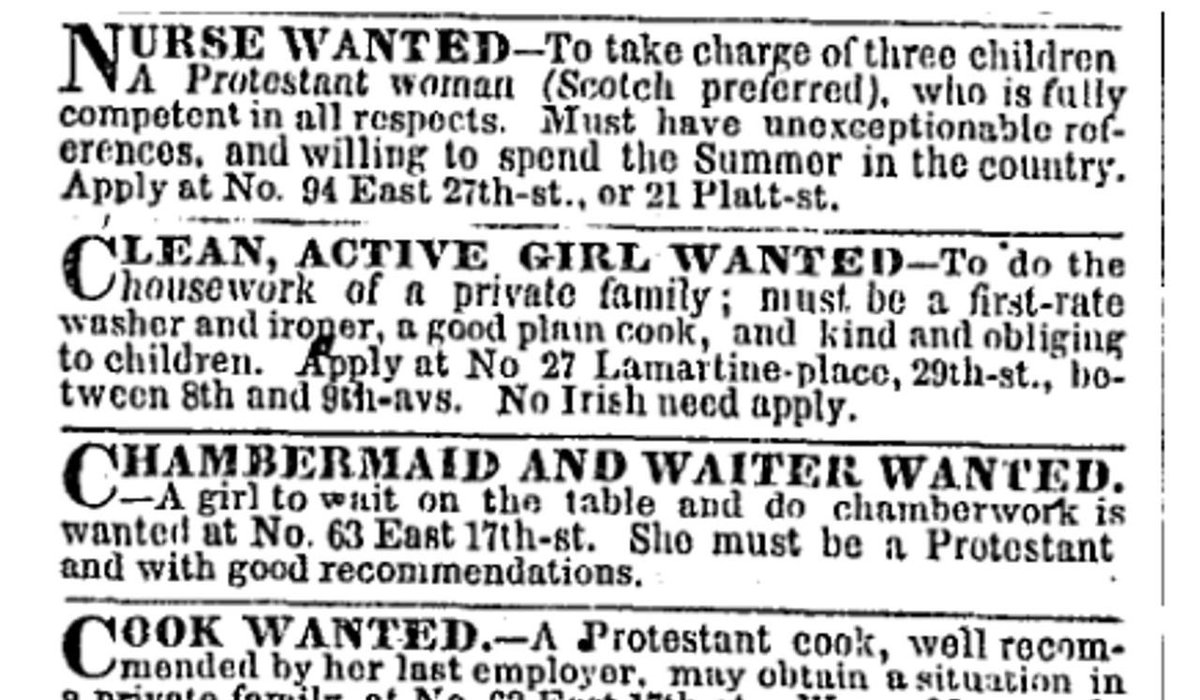 "A classified ad from the New York Times in 1855 containing the words ""No Irish need apply."""