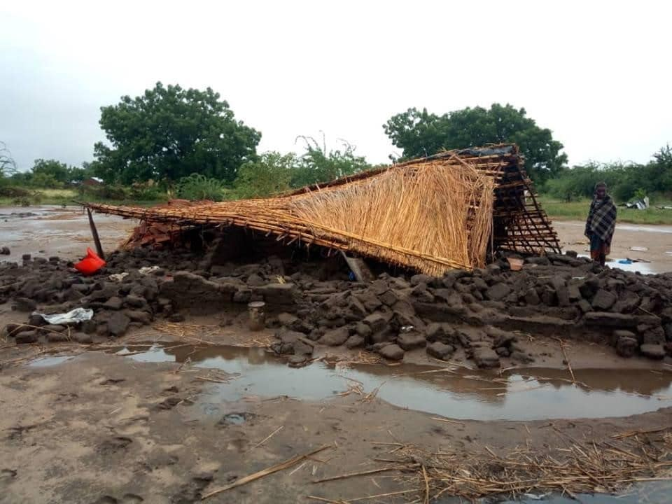A house in Malawi damaged by floods