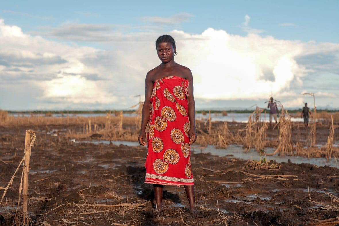 Farmer Malita (25) inspects whats left of her field