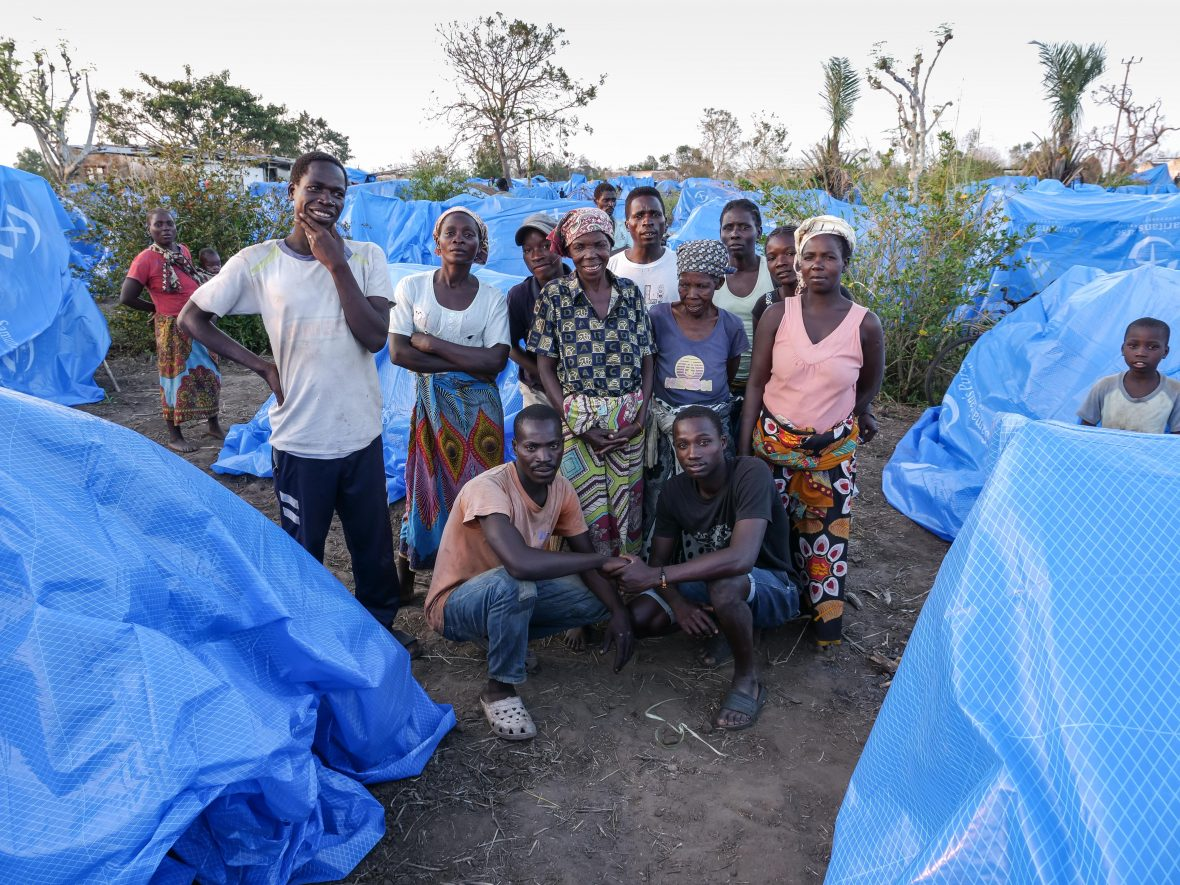 Displaced people at a camp in Mozambique