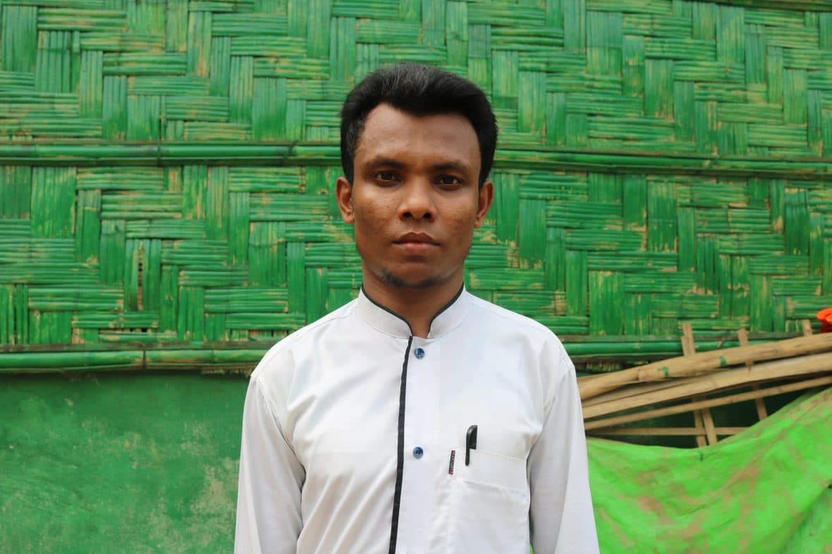 Amir* is a refugee and a volunteer at one of Concern's nutrition centers in Cox's Bazar, Bangladesh.