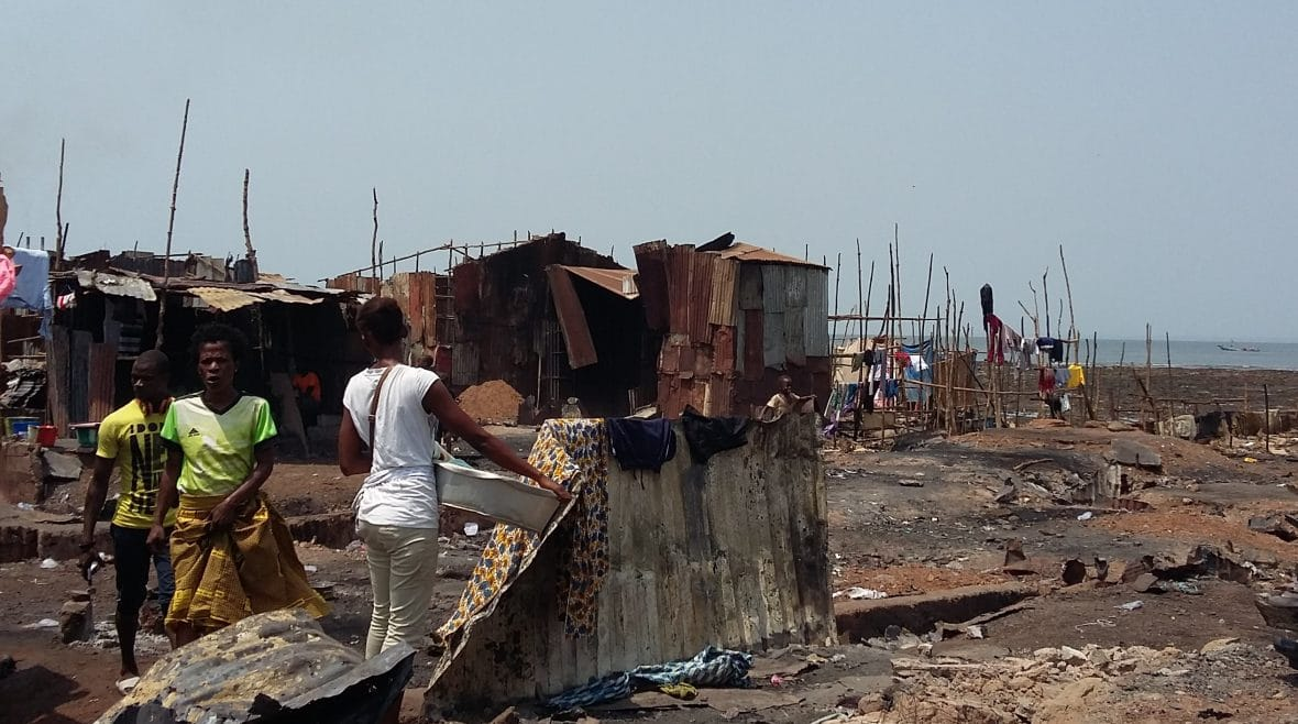 Some of the burnt remains at the Kroo Bay slum in Freetown,