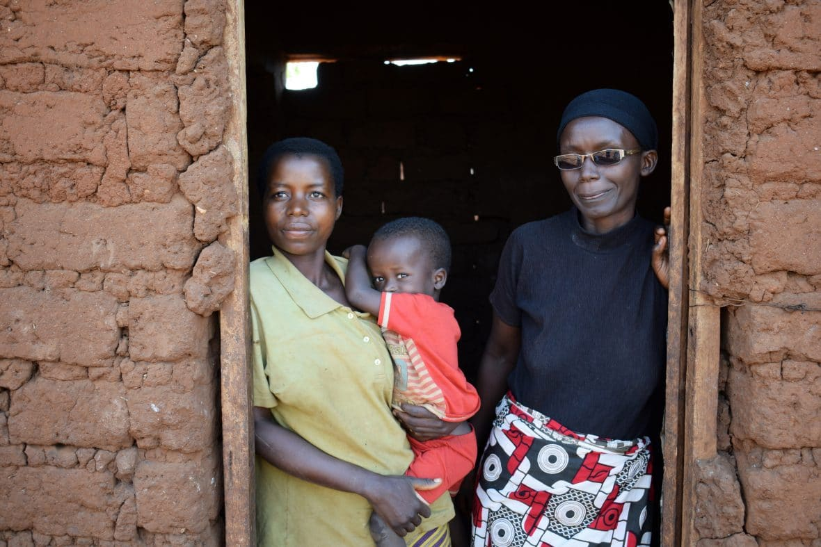 Burundi mother Celenie Hakizimana with her son Bonheur and Community Health Worker Francine Kabondo