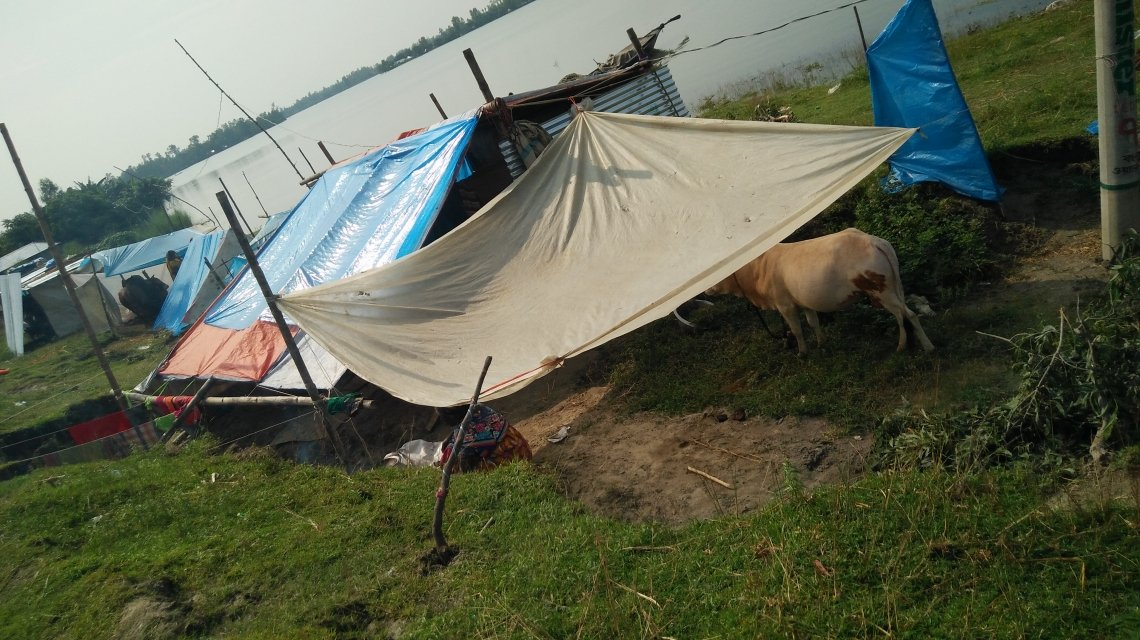 A temporary shelter in Lalmonirhat District, Northern Bangladesh. Photo: Concern Worldwide