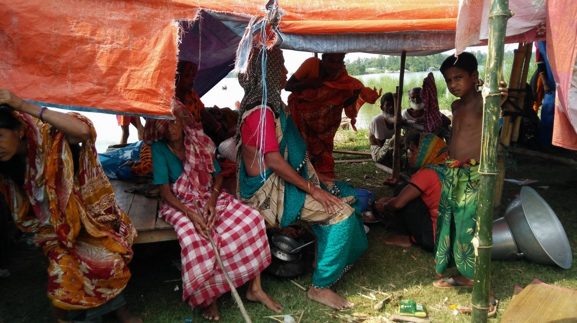 Displaced households take shelter in northern Bangladesh.