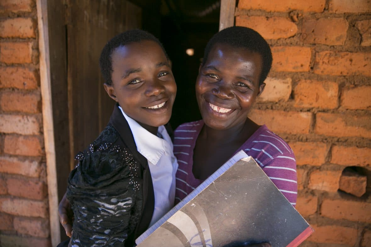 Mother and daughter at home in Malawi