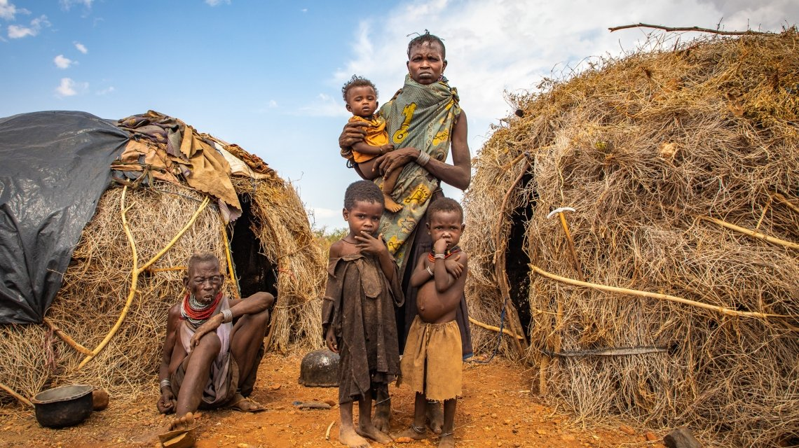 A Turkana woman with her mother-in-law and children in drought-struck northern Kenya.