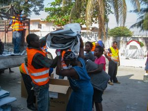 Receiving supplies in Port au Prince after the 2010 Haiti earthquake