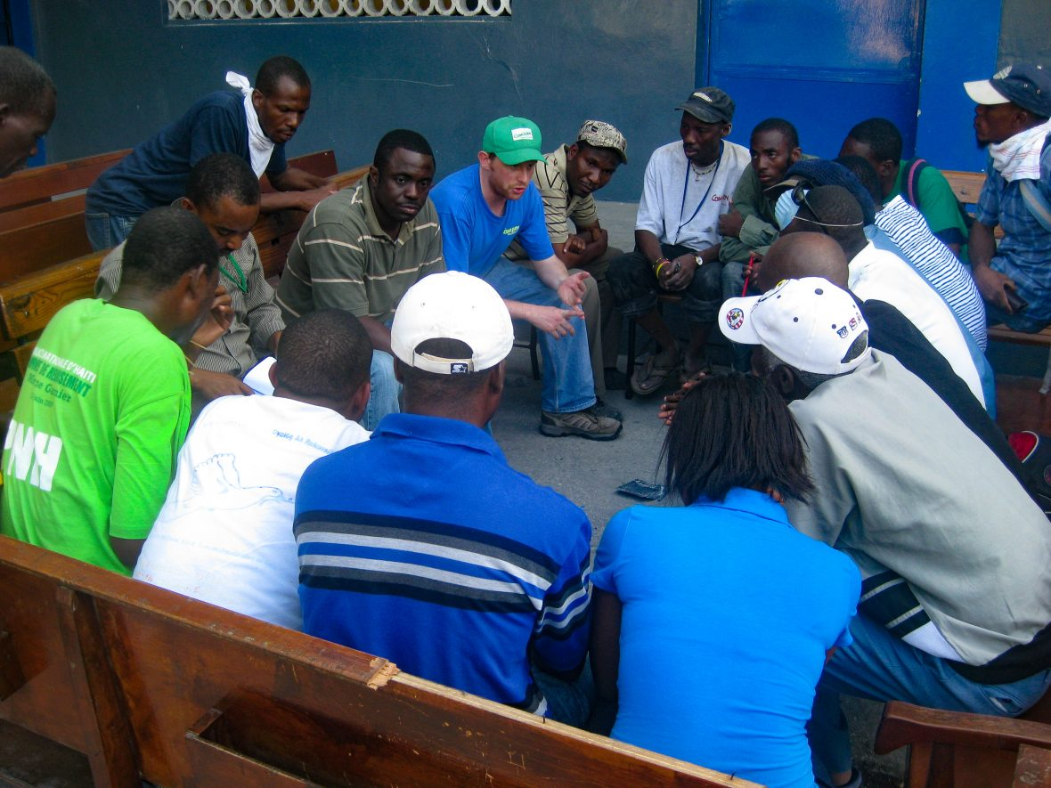 Volunteer search and rescue meeting in Haiti post earthquake, 2010