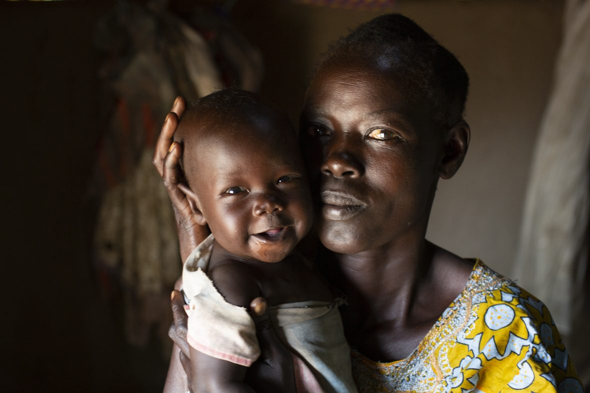 South Sudanese woman and young child