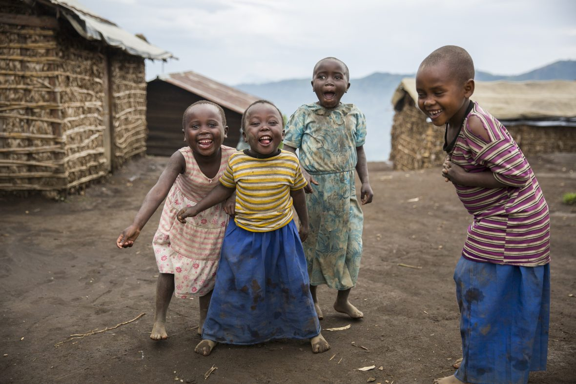 Young children laughing