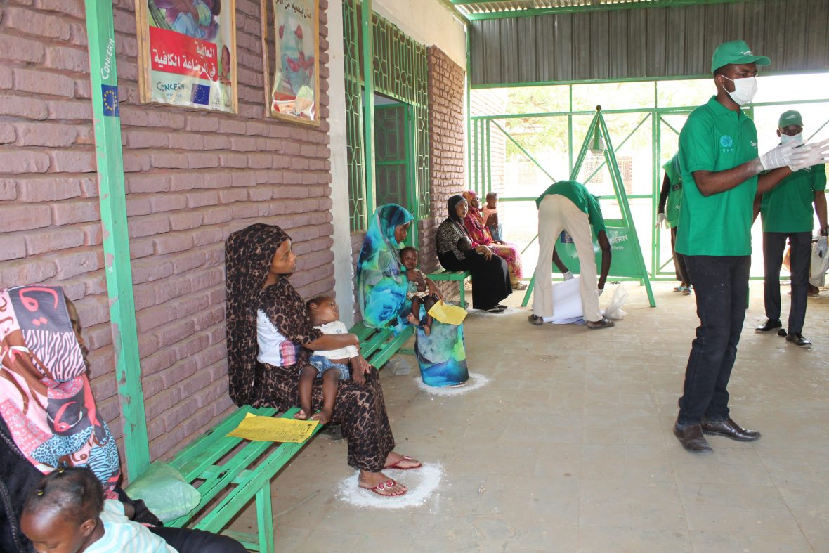 Social distancing at a clinic in Sudan