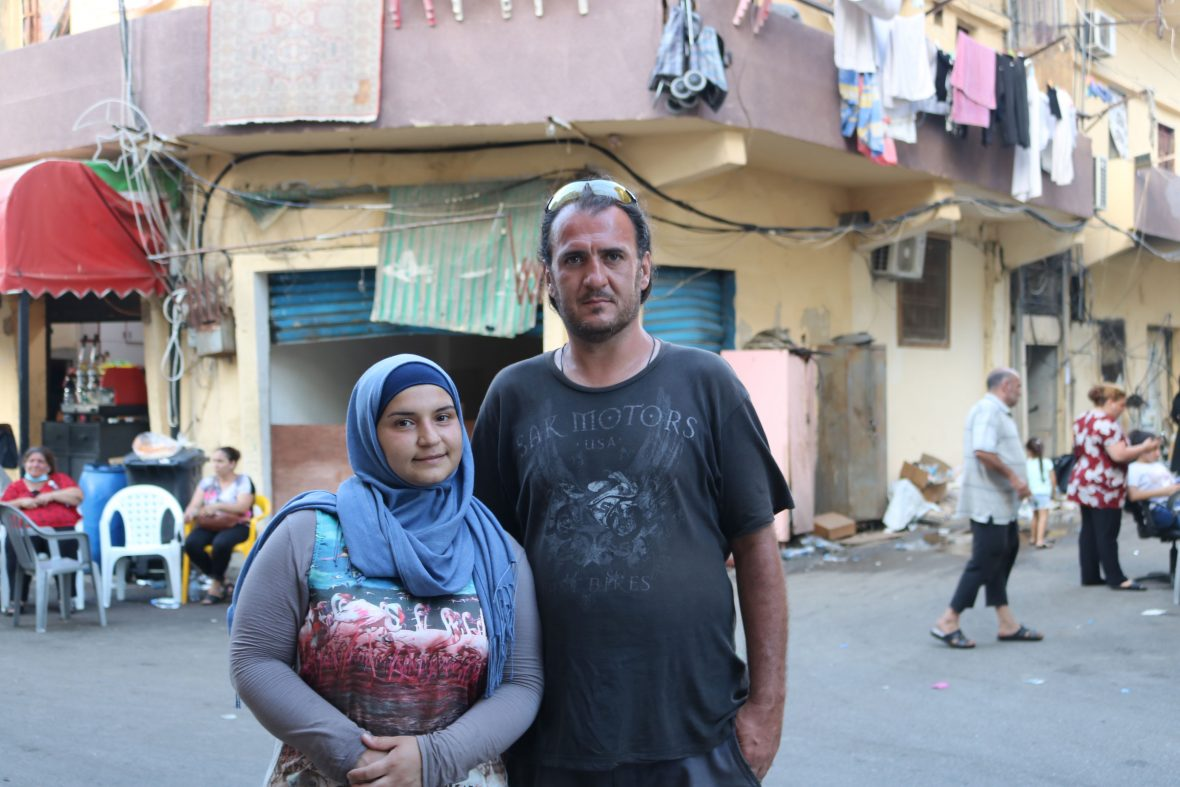 A lebanese couple affected by the Beirut explosion