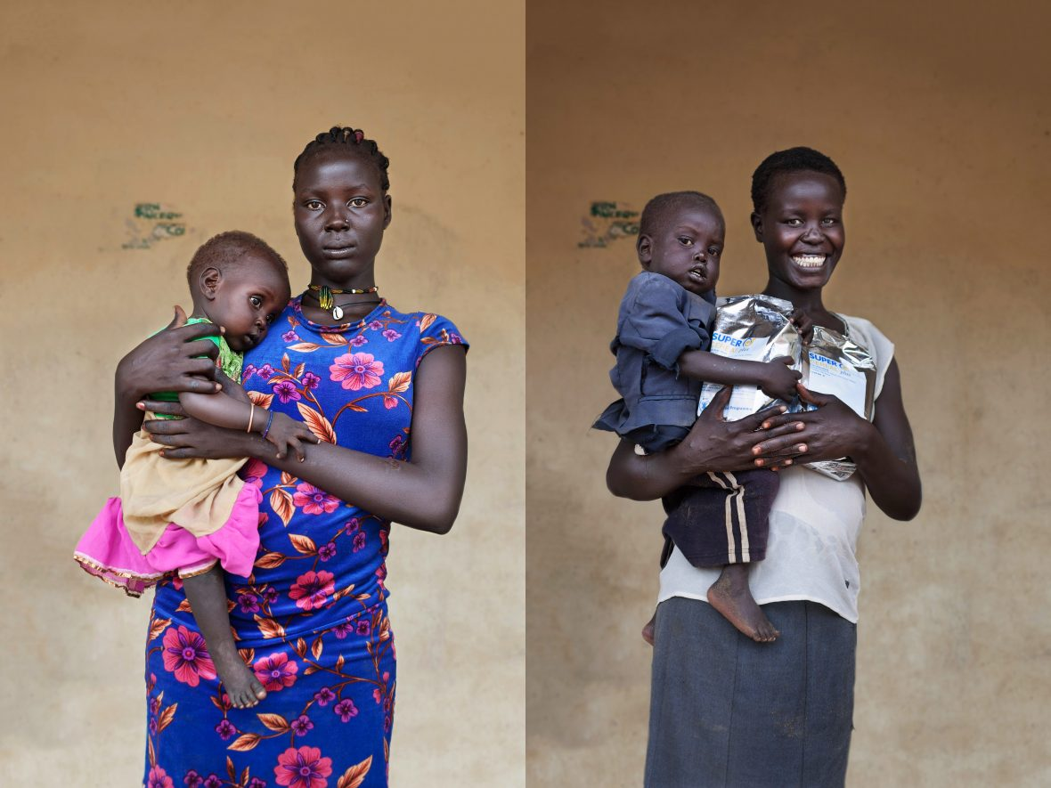 Two South Sudanese mothers and their infants outside of a nutritional clinic in Aweil